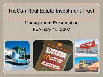 View this Presentation (PDF 2.07 MB) - RioCan