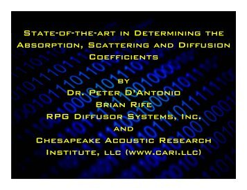 Acoustical Coefficients - RPG Diffusor Systems