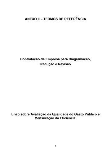 ANEXO II – TERMOS DE REFERÊNCIA Contratação de Empresa ...