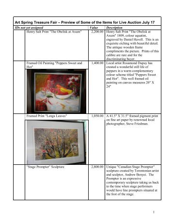 Preview of Some of the Items for Live Auction July 17 - ArtSpring