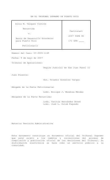 2007 TSPR 86 - Rama Judicial de Puerto Rico