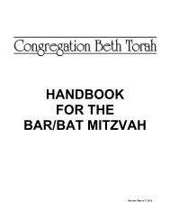 HANDBOOK FOR THE BAR/BAT MITZVAH - Congregation Beth Torah