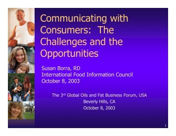 Communicating with Consumers - American Palm Oil Council
