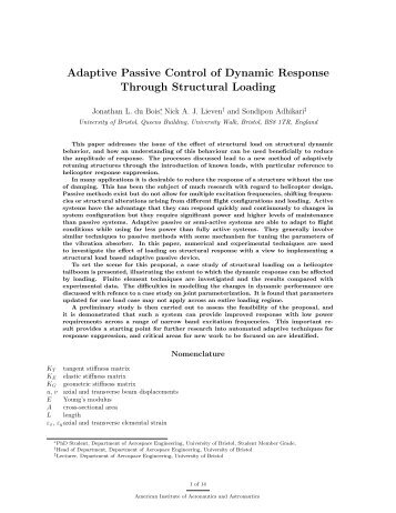 Adaptive Passive Control of Dynamic Response Through Structural ...