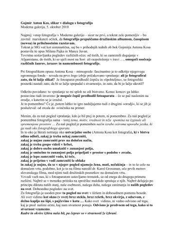 Gojmir Anton Kos, slikar v dialogu s fotografijo Moderna galerija, 5 ...