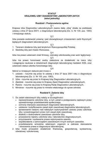 Statut KIDL - Krajowa Izba Diagnostów Laboratoryjnych