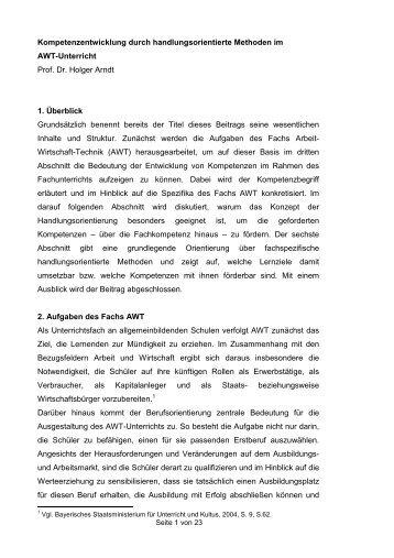 Kompetenzentwicklung durch handlungsorientierte Methoden im ...