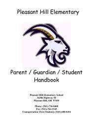 Pleasant Hill Elementary Parent / Guardian / Student Handbook