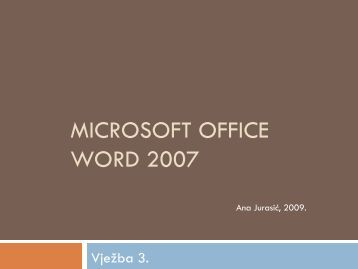Microsoft Office Word 2007 — Vježba 3
