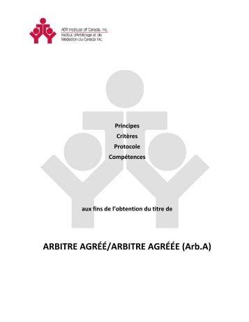 ARBITRE AGRÉÉ/ARBITRE AGRÉÉE (Arb.A) - ADR Institute of ...