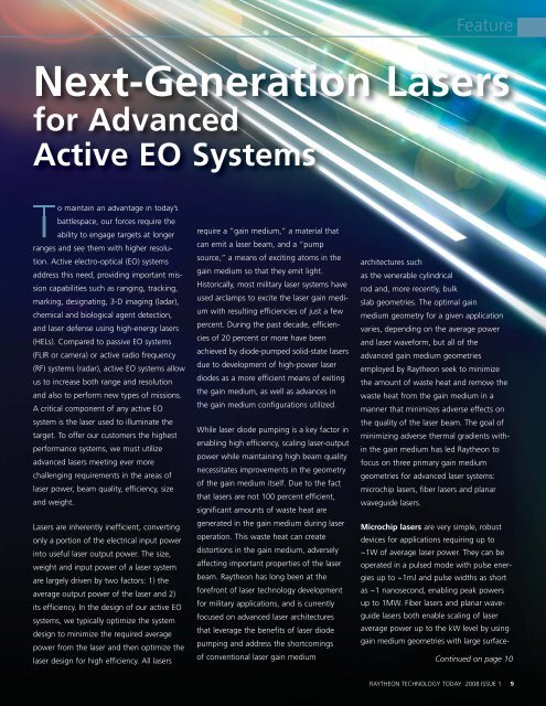 Next-Generation Lasers for Advanced Active EO Systems - Raytheon