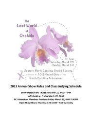 Class Judging Schedule - Western North Carolina Orchid Society