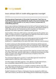 Iosco advises G20 on credit rating agencies oversight