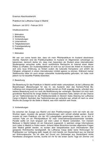 erasmus abschlussbericht praktikum madridihrm - Be Lufthansacom Bewerbung