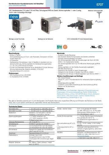 5707 - Gerätestecker-Kombielemente mit Netzfilter - SCHURTER