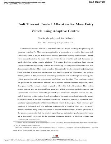 Fault Tolerant Control Allocation for Mars Entry Vehicle using ...
