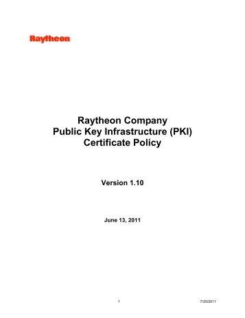 Raytheon Company Public Key Infrastructure (PKI) Certificate Policy