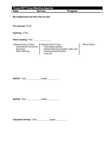 Senior Patrol Leader Worksheet Meeting Date