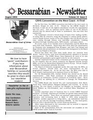 Bessarabian Newsletter Issue 10-2 - GRHS Home Page