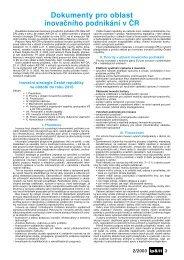 rok 2003: Dokumenty pro oblast inovačního podnikání v ČR - AIP ČR