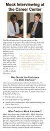 Mock Interview Program bookmark - The Career Center