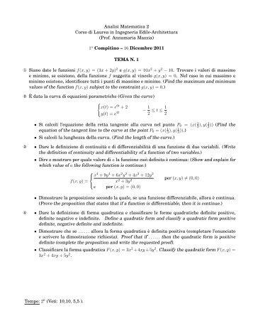 TESTI E SOLUZIONI del primo compitino del 16-12-2011 - Esercizi e ...