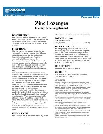 Zinc Lozenges - Douglas Laboratories