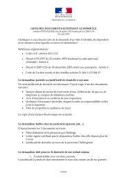 liste des documents justifiant le domicile au 22 août 2013…