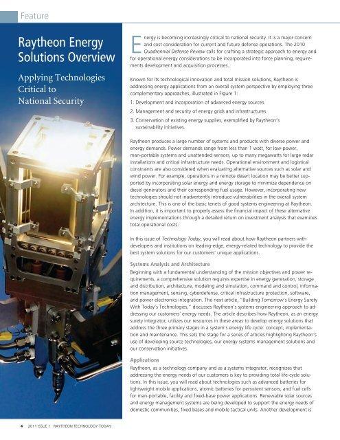 Raytheon Technology Today 2011 Issue 1