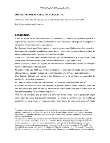 Decisiones sobre capacidad operativa - Alejandro Gonzalez y ...