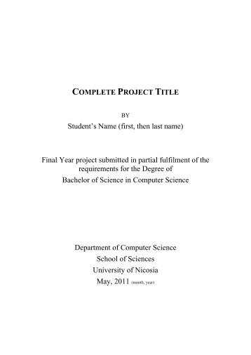 final year projects thesis Student's guide for final year project thesis: bsc a final year thesis has to demonstrate academic structure questions and projects in final year project.