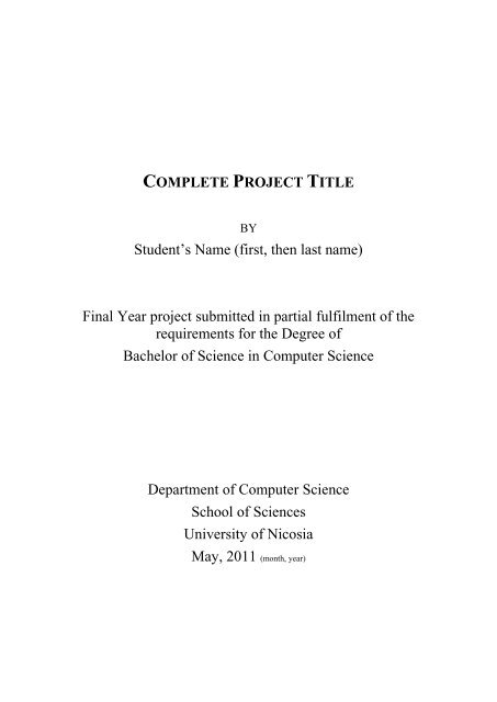 Thesis Template | Final Year Project Thesis Template University Of Nicosia