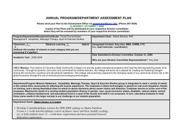 annual program/department assessment plan - Columbus State ...