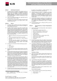 Terms and Conditions of the Provision and Use of ... - Komerční banka