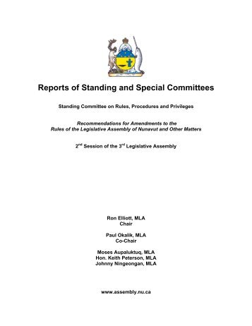 Reports of Standing and Special Committees - Legislative Assembly ...