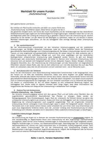 Merkblatt für unsere Kunden - Pferdeklinik Burg Müggenhausen