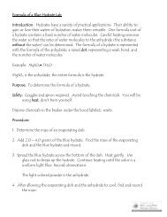 Formula of a Blue Hydrate Lab Introduction: Hydrates have a variety ...