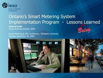 Ontario's Smart Metering System Implementation Program - Lessons ...