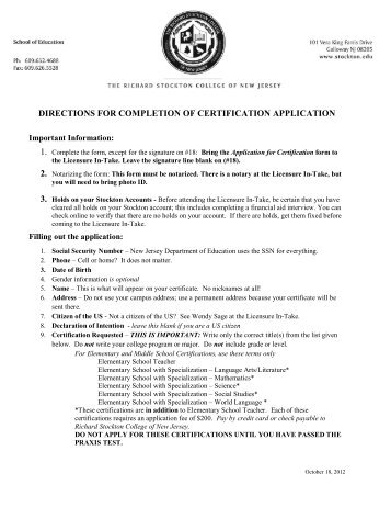 directions for completion of certification application - Stockton College