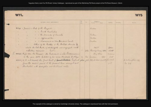 Augustus Henry Lane Fox Pitt Rivers' Library Catalogue ...