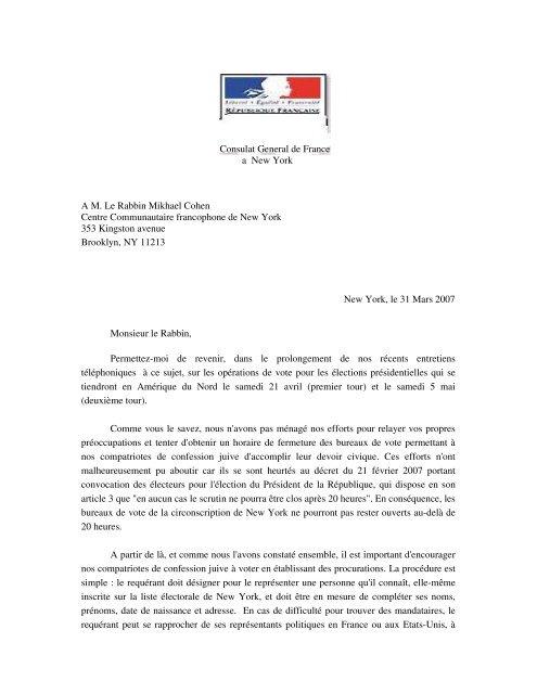 Consulat General de France a New York A M. Le ... - Hassidout