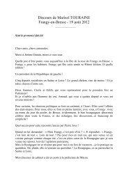 Discours de Marisol TOURAINE Frangy-en-Bresse - 19 août 2012