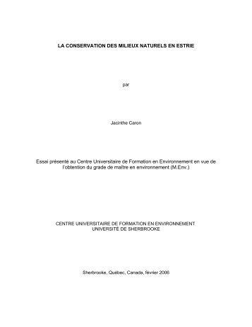 La conservation des milieux naturels en Estrie. - Université de ...