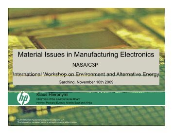 Material Issues in Manufacturing Electronics