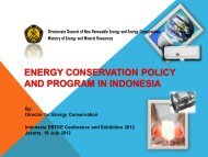 ENERGY CONSERVATION POLICY AND PROGRAM IN INDONESIA