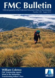 August 2012 Issue - Federated Mountain Clubs of NZ