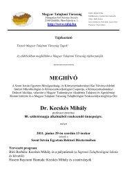 MEGHÍVÓ Dr. Kecskés Mihály - Magyar Talajtani Társaság