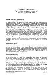 Bericht des Aufsichtsrates der Deutsche Immobilien Holding AG f