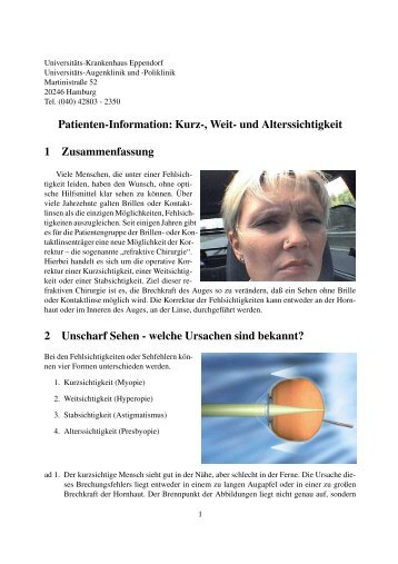 Patienten-Information: Kurz-, Weit- und Alterssichtigkeit 1 ...