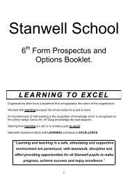 6 Form Prospectus and Options Booklet. - Stanwell School
